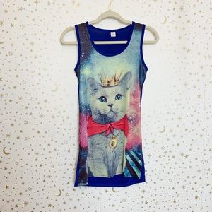 Crowned Cat in Space Graphic Tank Top